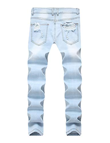 IDEALSANXUN Men's Rose Embroidery Skinny Ripped Jeans Slim Fit Distressed Stretch Jeans Pants with Holes (38, Light Blue)