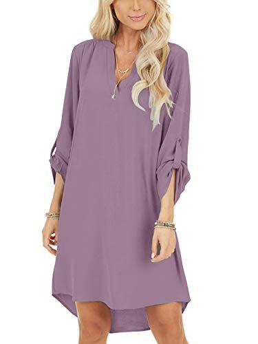 YOINS Damen Kleider Tshirt Kleid Sommerkleid für Damen Brautkleid Langarm Minikleid Kleid Langes Shirt V-Ausschnitt Lose Tunika mit Bowknot Ärmeln Rosa L