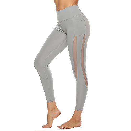 Damen Sport Leggings Mit Taschen - Mesh Stitching Sport Yoga Leggings Frauen Blickdicht Lange Sporthose Leggings Mit Netznähten Mit Mesh-Einsätzen D,M