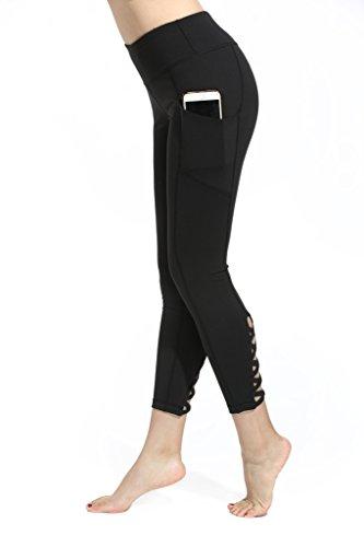 Lotus Instyle Damen R¨¹cken Kreuzung Linie Capri Laufhose Yoga Leggings mit Taschen Black-S