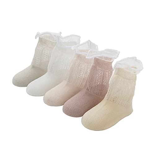 Juzzae Multipack Bambini Calzini In Maglia Di Cotone Bambini Ragazzi Ragazze Neonato Neonato Sottile Calzini Estivi per Bambini Girl Pattern B 5 paia 0-12 Mesi
