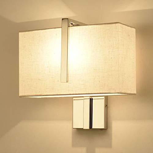JminJC Lámpara De Pared Simple Lectura De Cabecera Acero Inoxidable Ambiente Moderno Dormitorio Sala De Estar Color: Blanco