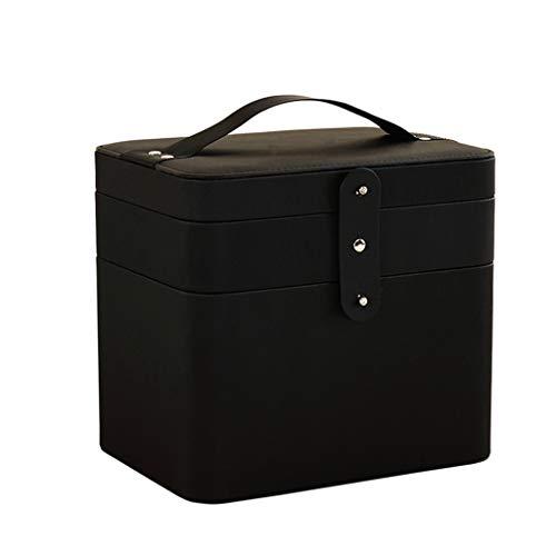 Boîte à bijoux/Coffre à bijoux Sac cosmétique portatif de grande capacité multifonctionnel de sac cosmétique Organiseur à Bijoux (Color : Black)