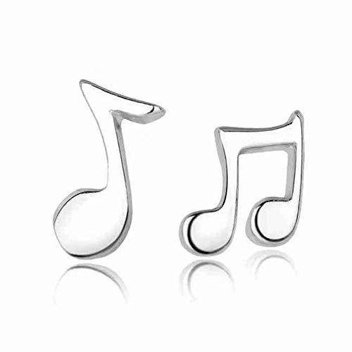 Pendientes para mujer, niña, pequeñas notas musicales, pendientes de botón, joyería de plata, bonito regalo
