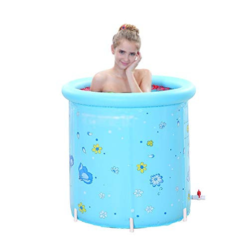 XINGZHE Kunststoffbadewanne tragbar klappbar aufblasbar, Erwachsene große freistehende Badewanne, runde Badewanne, blau Folding Badewanne