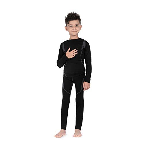 SAGUARO Thermounterwäsche Set Kinder Atmungsaktiv Thermoaktiv Skiunterwäsche Funktionswäsche für Mädchen & Jungen Schwarz Gr.146-152