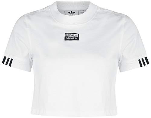 adidas T-Shirt Crop Top Femme T-Shirt Manches Courtes Blanc S, 100% Coton, Regular/Coupe Standard