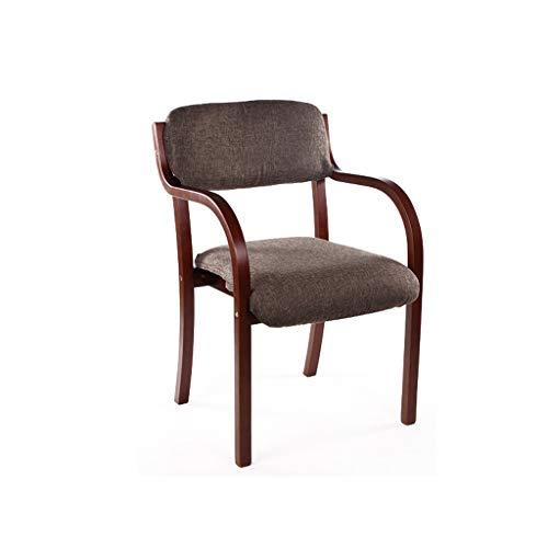 LJZslhei Stuhl Esszimmer Stuhl Einfacher Einzel Schreibtisch Stuhl Armlehne Stuhl Computer Stuhl Kreativer Holzstuhl Tiefe Kaffee Farbe Kissen (Color : Brown)