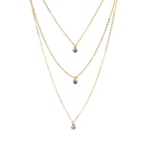 Collar Tendencia de moda Collar con colgante de diamantes de imitación de múltiples capas Collar simple de marca de moda para mujer