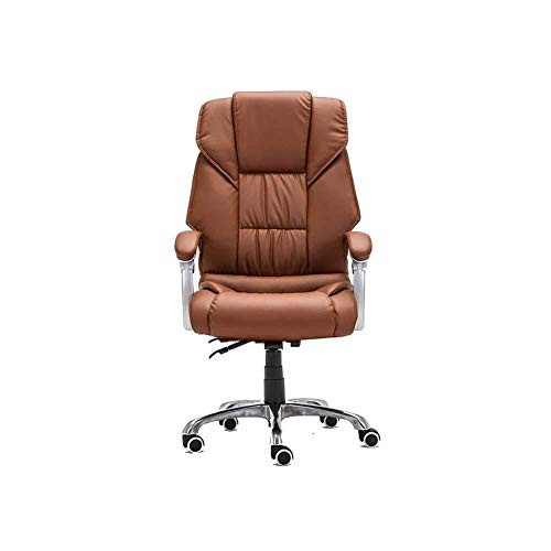 FTFTO Office Life Executive Recline Swivel Chair can Lie Down, Ergonomic Office Boss PU Chair Household Rotate Rise Drop Chair Armrest Seating Back Rest Chair Padded Office Chair (Color : Brown)