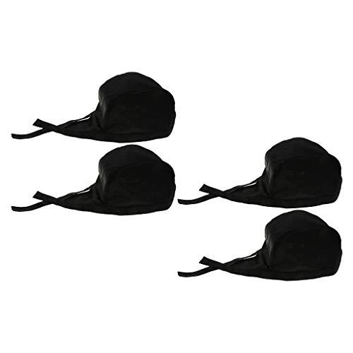 Milageto 4x Sombrero de Chef Catering Comida Cocina Lazos Gorra Bandana Negro Durable