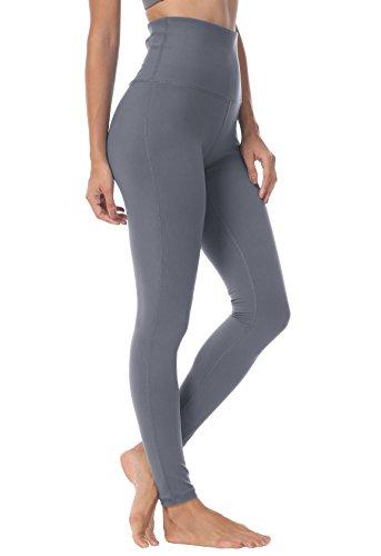 QUEENIEKE Yoga Hosen Damen-hohe Taillen Yoga Leggings mit Tasche Trainings Strumpfhosen für Laufen Fitness Farbe Dunkelgrau Größe XL(14)