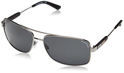 Burberry Herren BE 3074 Rechteckig Sonnenbrille, 100387, Gunmetal, Gray