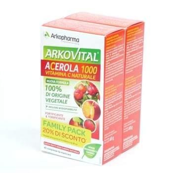 Arkopharma Arkovital - Acerola 1000 Vitamina C Naturale Family Pack, Rosso, 60 Compresse