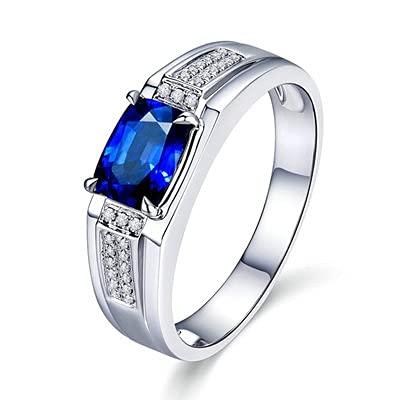 Bishilin Alianza de Boda de Oro Blanco de 18 Quilates para Mujer, Rectángulo Zafiro 1ct Diamante Anillo de Compromiso Anillo de Aniversario Ajuste Cómodo Azul Plateadotamaño: 15