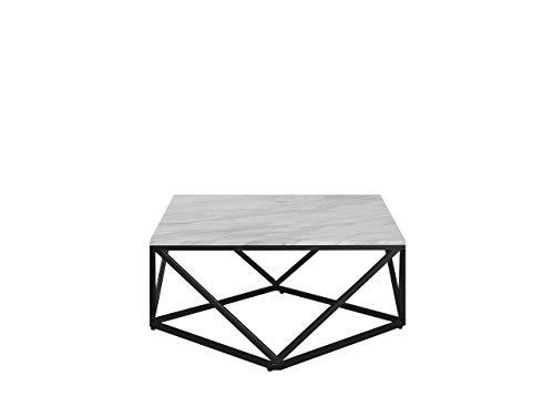 Beliani Moderner Couchtisch mit Marmor-Effekt in Weiß/Schwarz Malibu