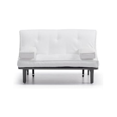 Sofa Cama 140 cm. tipo futon Color Ecopiel Blanco: Amazon.es ...