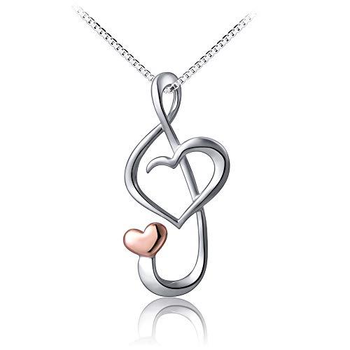 Flyow - Collana con ciondolo a forma di cuore, per donne e ragazze, in argento Sterling 925, con scatola robusta, 45,7 cm, con confezione regalo