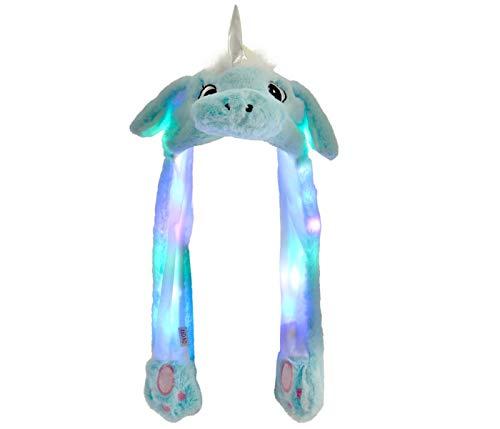 Alsino Wackelohr Mütze mit LED Beleuchtung Einhorn Plüsch Party Verkleidung Tiermütze Partyhut lustig mit beweglichen Ohren für Damen, Blau
