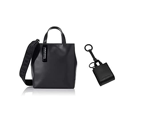 Liebeskind Berlin Paper Bag Tote, Shopper para Mujer, Negro (black), Pequeno + Llavero para Mujer, negro