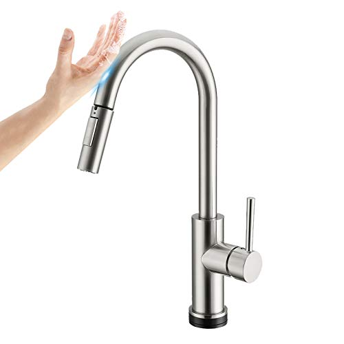 Touch Faucet with PullDownSprayer, Upgrade Stainless Steel Smart Kitchen Sink Faucets with Deck Plate and Brushed Nickel