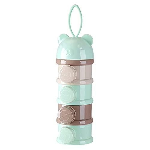 Hihamer doseur de lait bebe 4 Compartiments Distributeur de Poudre de Lait de Formule Lait en Poudre Bébé Doseurs Boîte De Lait Poudre De Lait Et Le Réservoir De Stockage (Vert)