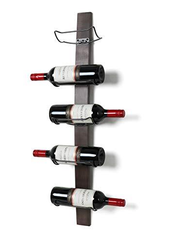 SODUKU Wall Mounted Wine Rack - Wine Bottle Holder Towel Rack, 5 Wine Bottle Rack Holder Shelf Rustic Wood Wall Wine Rack No Need Assembly Brown