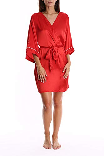 Blis Damen Satin-Nachthemd – Damen Schlaf- & Loungewear Bademantel - Rot - X-Large