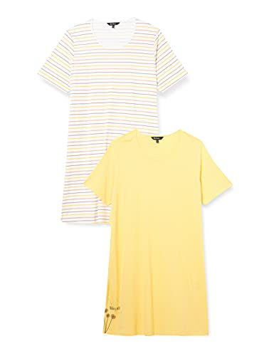 Ulla Popken Big Shirts, 2er, Make a Wish, OCS Chemise de Nuit, Gelb, 58+ Femme
