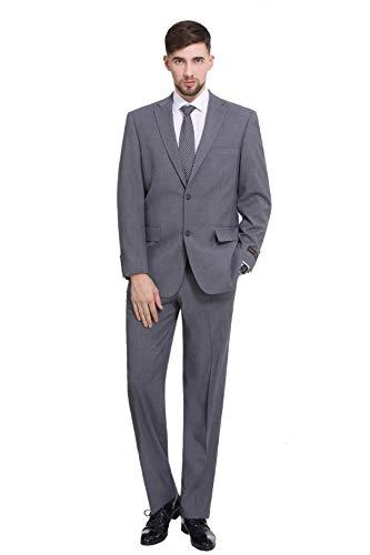P&L Men's 2-Piece Classic Fit 2 Button Office Dress Suit Jacket Blazer & Pleated Pants Set