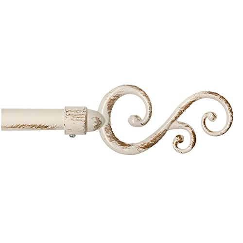 emmevi Barra de cortina extensible 120 – 210 o 160 – 300 de hierro envejecido, estilo Shabby Chic, barra de cortina con espirales