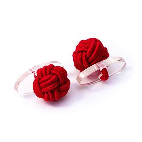 Bull & Drake Coppia di gemelli con nodo di seta e nodo di stoffa, polsini elasticizzati, stile Londra (1 paio) (1 paio)