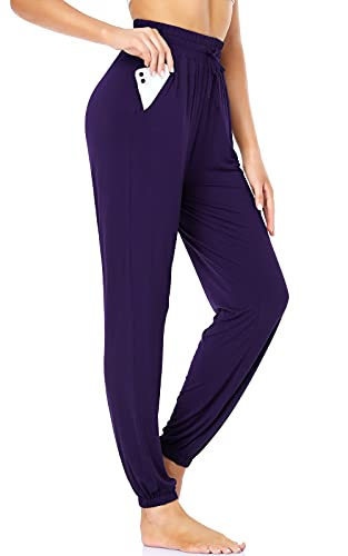 ROCHVIE Women Workout Sweatpants with Pockets High Waist Loose Leggings Yoga Pants Comfy Jogger Casual Lounge Pants Purple L