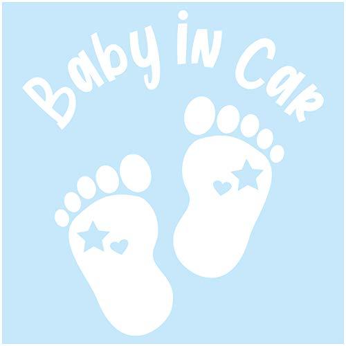Baby in Car Aufkleber Autoaufkleber Sticker für Kfz Babyaufkleber Selbstklebend Wetterfest Wasserfest Vinyl Auto Zubehör K148 (Weiß Glanz, Fußabdrücke)
