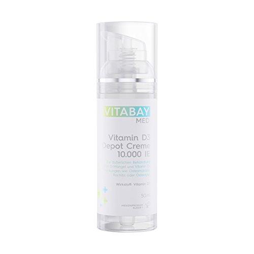 Vitamin D3 Depot Creme 10.000 IE/IU - Nur eine Anwendung alle 10 Tage liefert 1000 IE pro Tag - 50 ml - Zur äußeren Behandlung von Vitamin D-Mangel