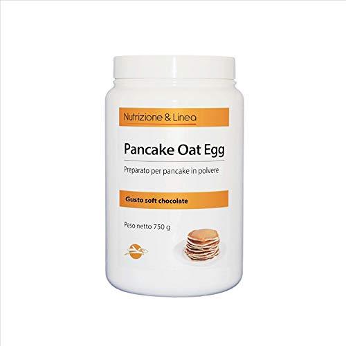 PANCAKE OAT EGG - Preparato per pancakes ad alto contenuto proteico (36,8%), 750 Grammi - SENZA GLUTINE e SENZA LATTOSIO (Gusto Soft Chocolate)