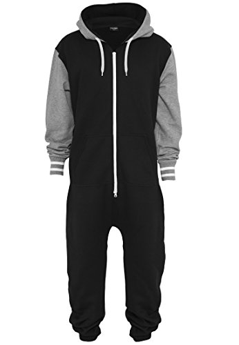Urban Classics Herren College Sweat Jumpsuit TB629 Regular Fit, Farbe Black/Grey - 2