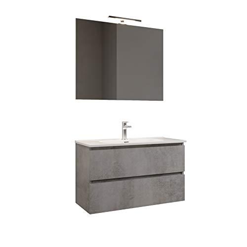 MaMa Store Atena Mobile sospeso con lavabo, Specchio e Lampada LED, Laminato Grigio Cemento L. 101 X P. 47 X H. 53 cm