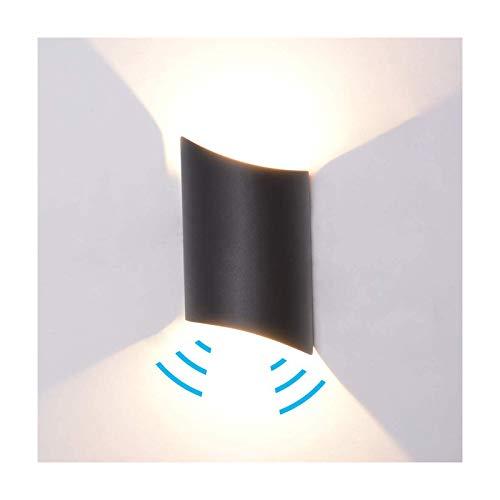 12W Wandleuchte Bewegungsmelder Außen/Innen LED Wandbeleuchtung Innen Up Down, Warmweiß Wasserdicht IP65 Aluminium Modern Leuchte Wandlicht Wandbeleuchtung für Wohnzimmer Schlafzimmer Flur, Schwarz