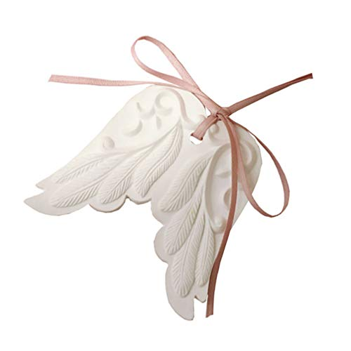 FAVOMOTO Angel Wings Ornament Parfum Luchtverfrisser Achteruitkijkspiegel Auto Ornament met etherische olie Gift Set Auto Interieur Decoratie Keepsake Gift (Wit)