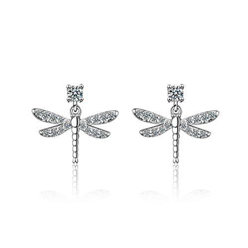 Pendientes de plata de ley 925 para mujer, diseño de libélula con circonita cúbica