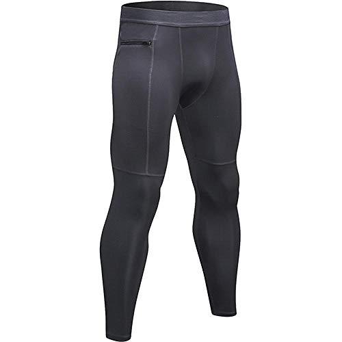 quming Cintura Alta para Reducir Vientre Mallas,Pantalones Deportivos de compresión para Hombre, Leggings Ajustados elásticos-Grey_L