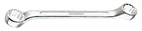 GEDORE 2 B 14x15 Doppelringschlüssel, kurz, flach gekröpft, geschmiedet, Ring dünnwanding und 10° abgewinkelt mit UD-Profil, DIN 838, 14x15 mm