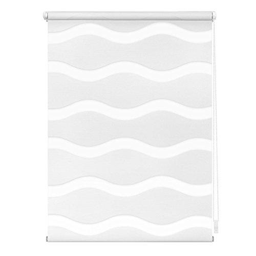 Lichtblick Doppelrollo Welle Klemmfix, 60 cm x 150 cm (B x L) in Weiß, ohne Bohren, Duo Rollo mit Jalousie-Funktion, dekorativer Sonnen- & Sichtschutz, für Fenster & Türen