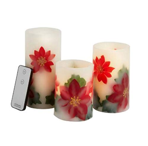 Poinsettia Real Wax Flameless LED Pillar Candles with Remote Control, Set of 3