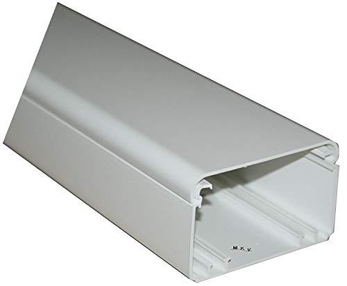 Kabelkanal 140x60mm Kunststoffkanal Verdrahtungskanal Leitungskanal reinweiss 2m mit Deckel PVC Kanal Brüstungskanal