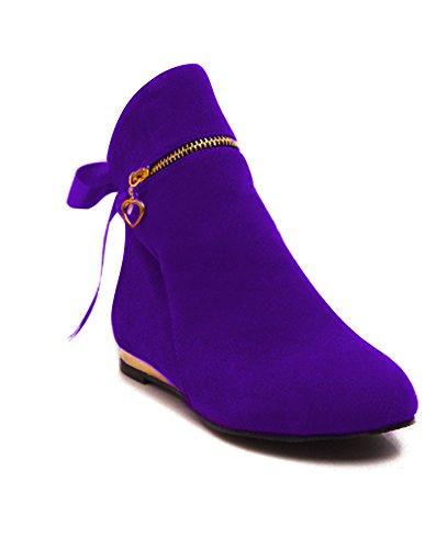 ShallGood Mujer Otoño Invierno Zapatos Botas de Tacón Plano Boots Botines con Cremallera Violeta EU 37