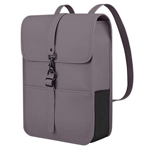 Cartinoe Waterproof Backpack Purse PU Leather School College Bookbag Slim Laptop Backpack 15 15.6 Inch Fashion Thin Bag Casual Vintage Bag for Women/Men, Boys/Girls for School,Business, Dark Grey