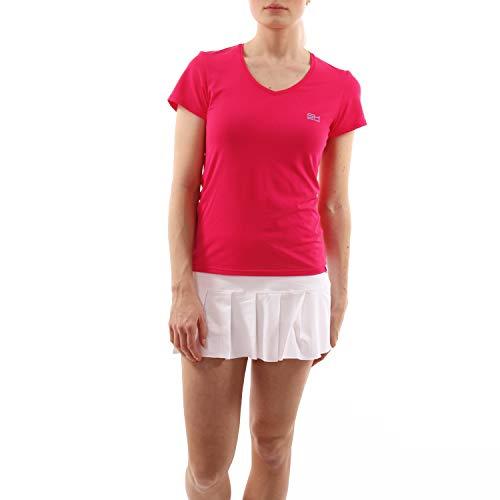 Sportkind Mädchen & Damen Tennis, Fitness, Sport T-Shirt, Kurzarm, V-Ausschnitt, UV-Schutz UPF 50+, atmungsaktiv, pink, Gr. 134