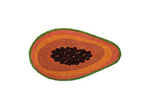 Fisura | Felpudo Papaya Rectangular 70x40 cm Puerta de Entrada Divertido y Original, Fibra de Coco Natural, PVC Antideslizante